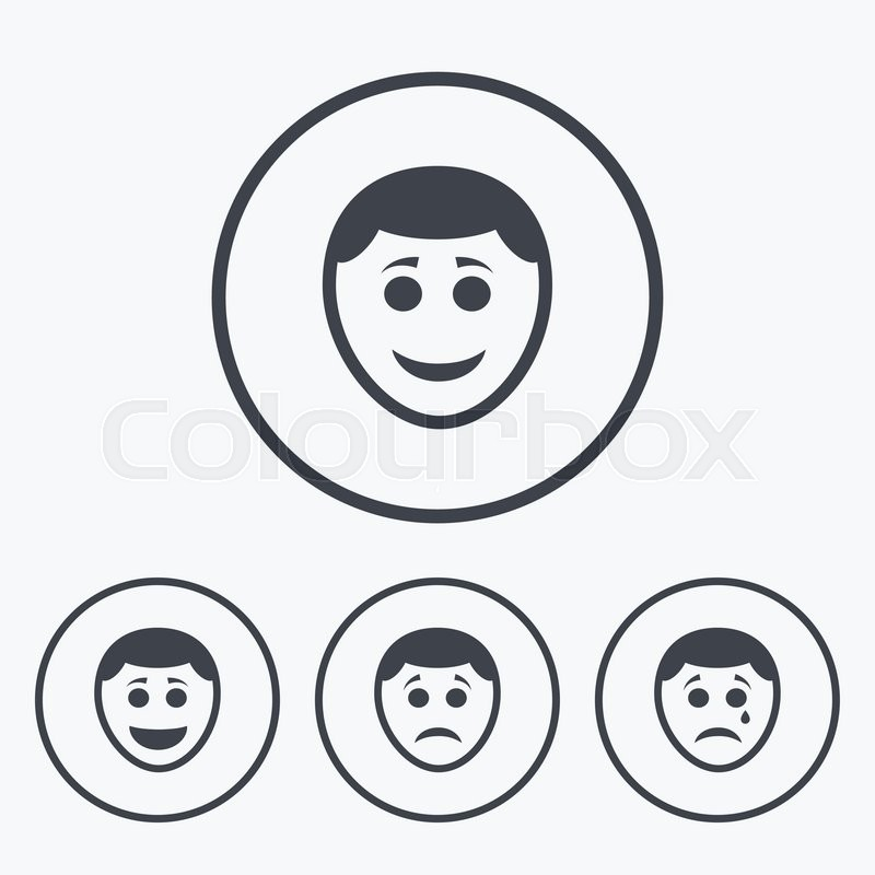 Human Smile Face Icons Happy Sad Cry Signs Happy Smiley Chat