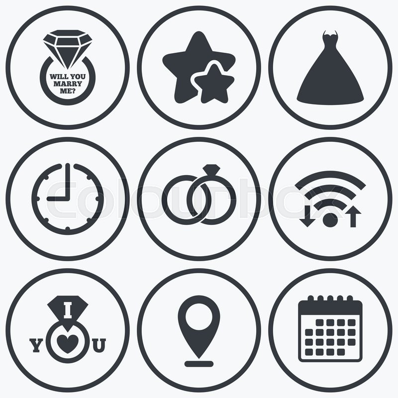 Clock Wifi And Stars Icons Wedding Dress Icon Bride And Groom