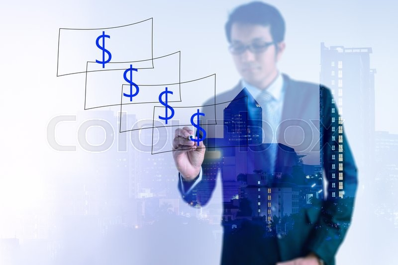 Stock image of 'Double exposure of Businessman drawing dollar notes with cityscape.'