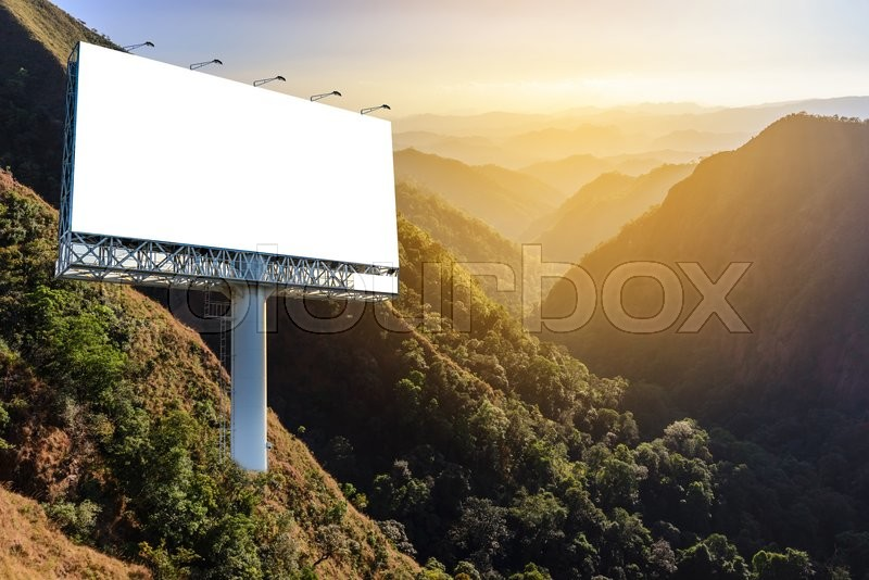Stock image of 'Blank billboard for advertising with forest background, advertising everywhere concept.\\ '