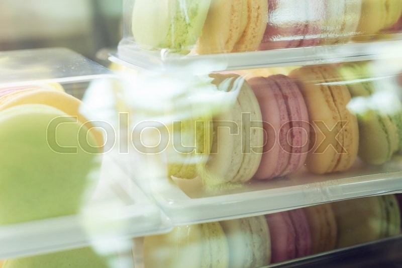 Stock image of 'macaroon sweet tasty dessert in cafe coffee shop'