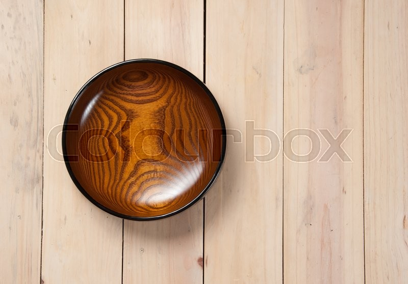 Stock image of 'Empty bowl on wooden,Top view'