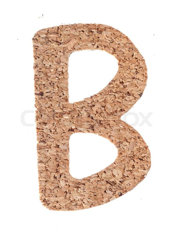Stock image of 'Cork board letter B isolated on white background'