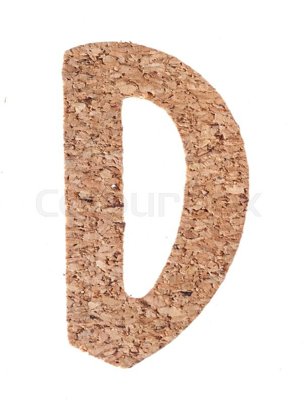 Stock image of 'Cork board letter D isolated on white background'
