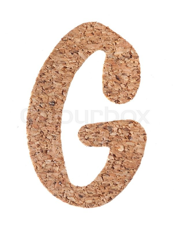 Stock image of 'Cork board letter G isolated on white background'