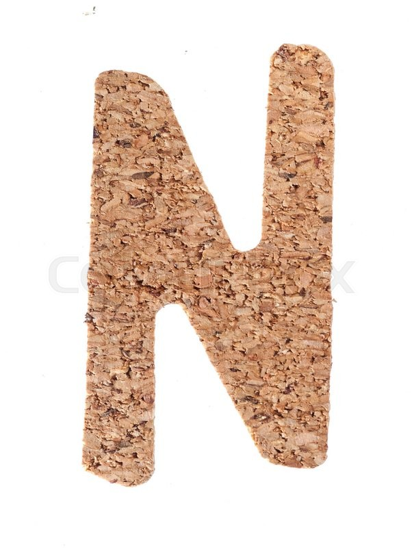 Stock image of 'Cork board letter N isolated on white background'