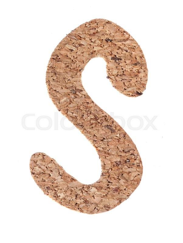 Stock image of 'Cork board letter S isolated on white background'