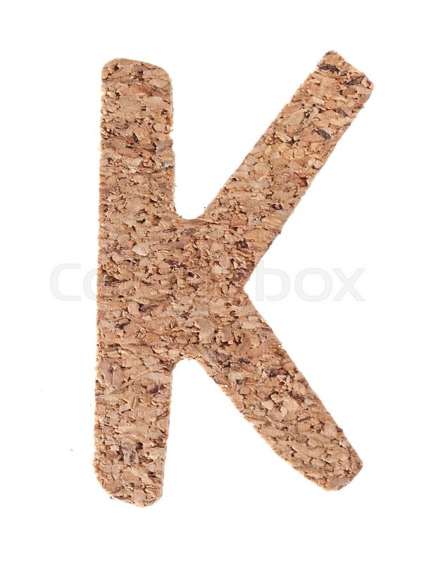 Stock image of 'Cork board letter K isolated on white background'
