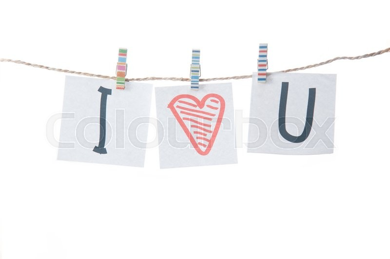 Stock image of 'Valentines day card with hearts and words of love on white background'
