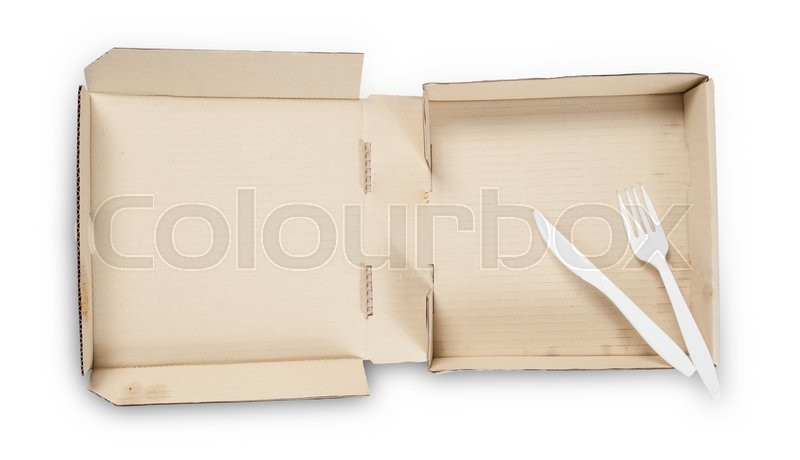 Stock image of 'Blank pizza box with Plastic knife and fork isolated on white background'