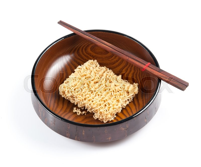 Stock image of 'Instant noodles in bowl on a white background'