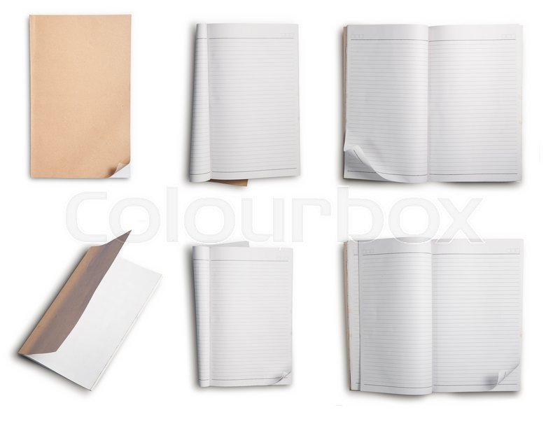 Stock image of 'Collection of notebook with white lined pages isolated on white background.'