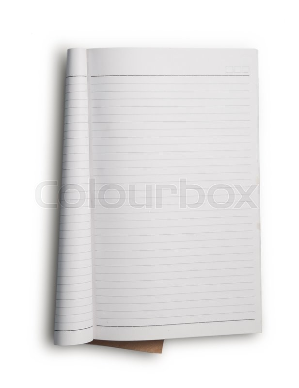 Stock image of 'Open notebook with white lined pages isolated on white background.'
