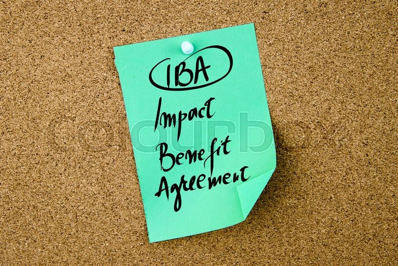 Stock image of 'Business Acronym IBA Impact Benefit Agreement written on green paper note pinned on cork board with white thumbtack, copy space available'