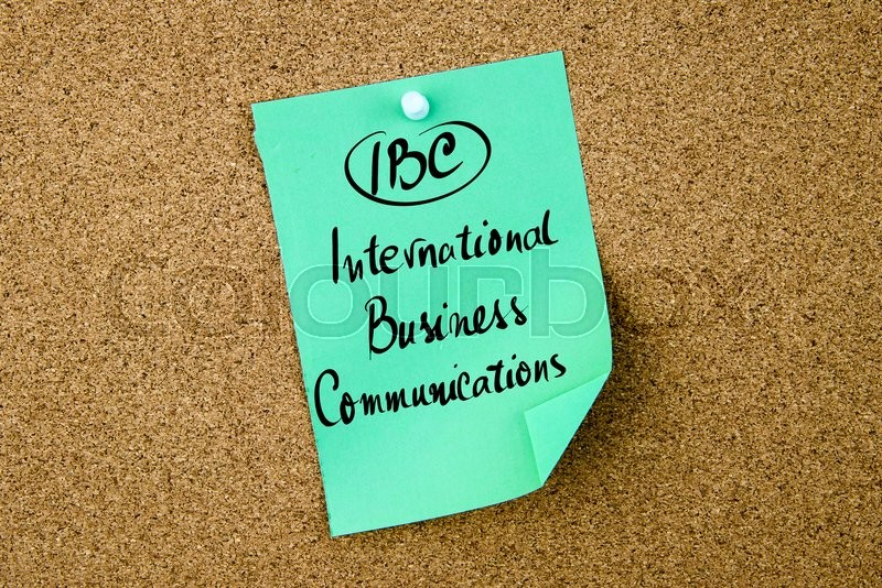 Stock image of 'Business Acronym IBC International Business Communications written on green paper note pinned on cork board with white thumbtack, copy space available'
