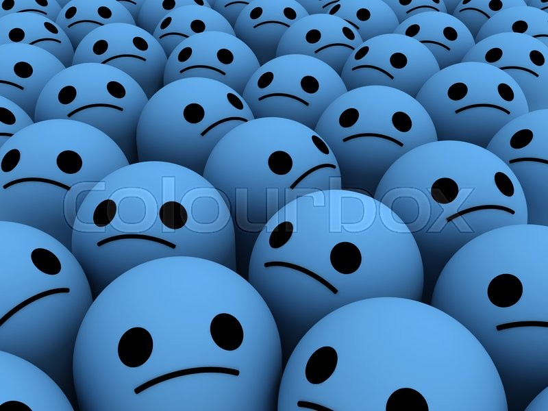 Stock image of 'Many sad smiles. The concept unhappy, unsatisfied customers, users, clients.'
