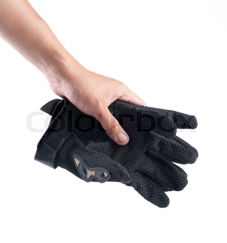 Stock image of 'Black Motorcycle gloves isolated on white background'