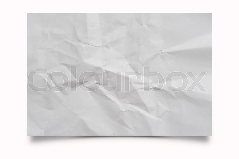 Stock image of 'Piece of Crumpled note paper on white background'