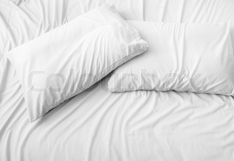 Pillow On The Bed Background Stock Photo Colourbox