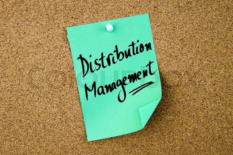 Stock image of 'Distribution Management written on green paper note pinned on cork board with white thumbtacks, copy space available'