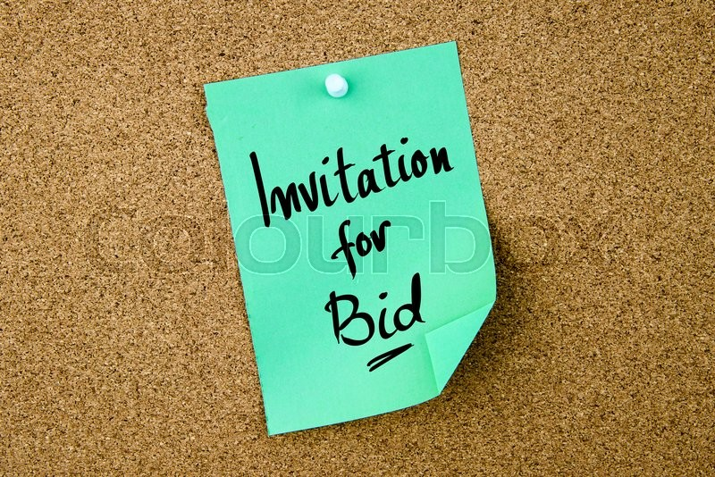 Stock image of 'Invitation For Bid written on green paper note pinned on cork board with white thumbtacks, copy space available'
