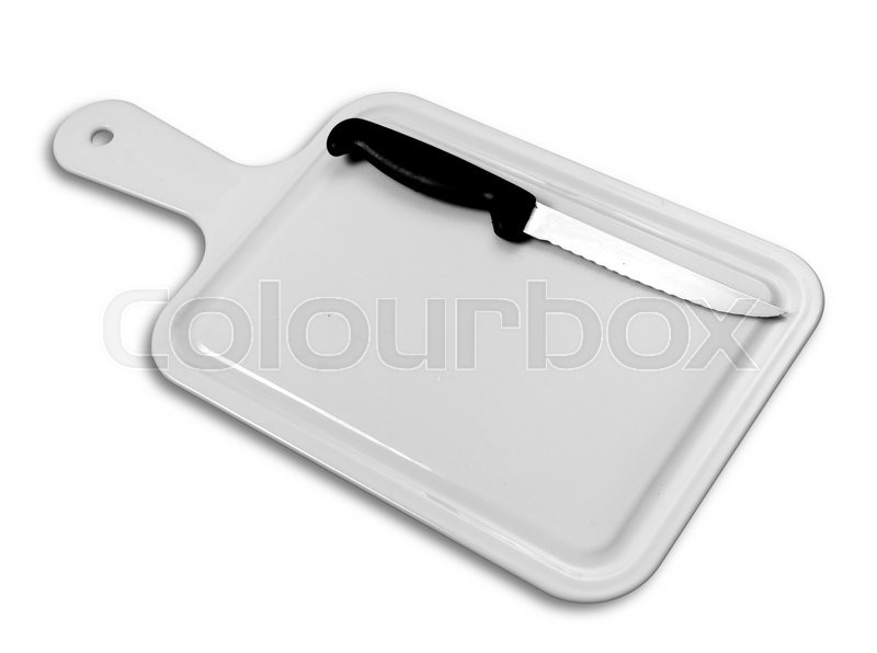 Stock image of 'Cutting board and kitchen knife on a white background'