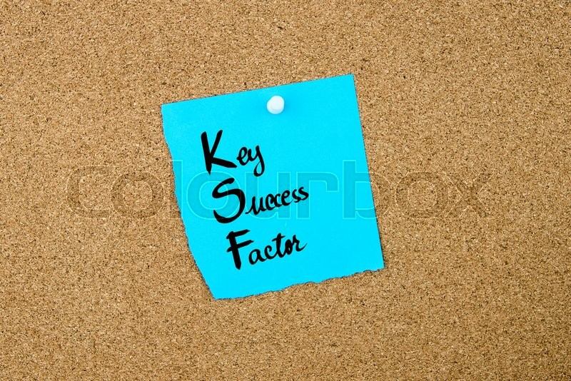 Stock image of 'Business Acronym KSF as Key Success Factor written on blue paper note pinned on cork board with white thumbtack, copy space available'
