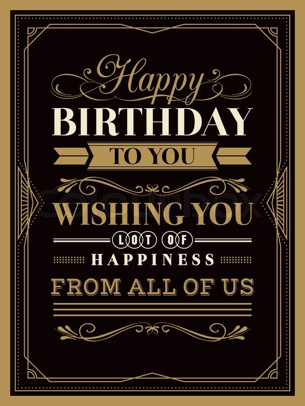 Vintage Happy Birthday card typography border and frame template ...