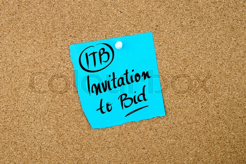 Stock image of 'Business Acronym ITB Invitation To Bid written on blue paper note pinned on cork board with white thumbtack, copy space available'