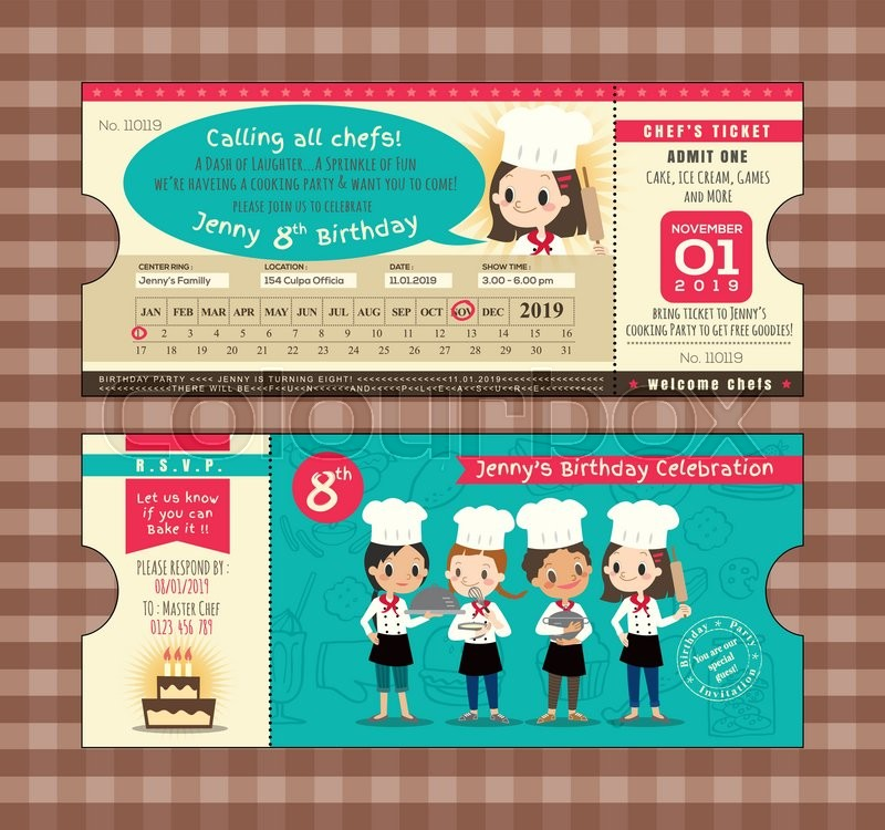 Ticket Birthday card party Invitation Template with chefs cooking ...