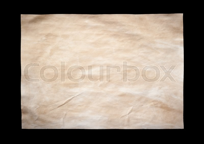 Stock image of 'Old paper sheet isolated on black background'