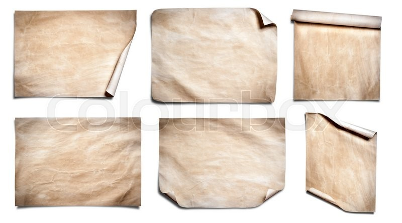 Stock image of 'Collection of Old paper sheet isolated on white background'