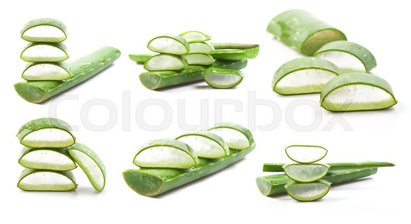 Stock image of 'Aloe vera fresh leaf isolated on white background'