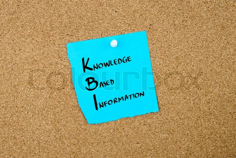 Stock image of 'Business Acronym KBI Knowledge Based Information written on blue paper note pinned on cork board with white thumbtack, copy space available'