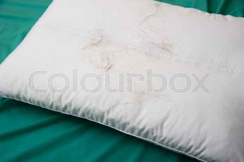 Stock image of 'Hair loss with Pillow on the bed, background'