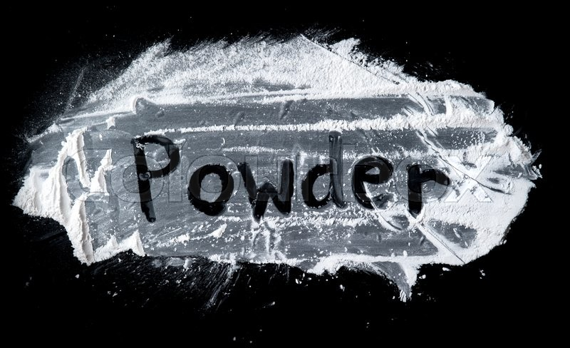 Stock image of 'Powder - written text on Talcum Powder on a black slate'