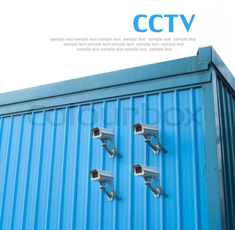 Stock image of 'Security cctv cameras in metal wall'