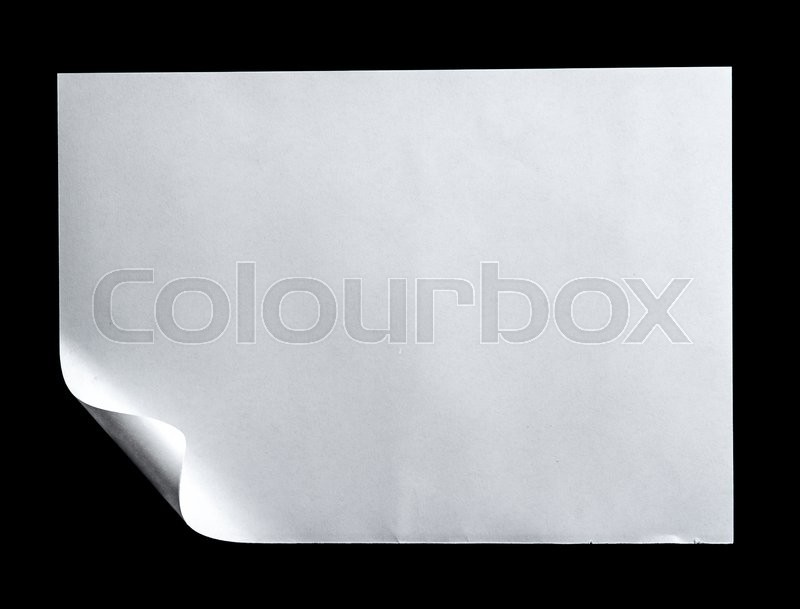 Stock image of 'White paper on black background'