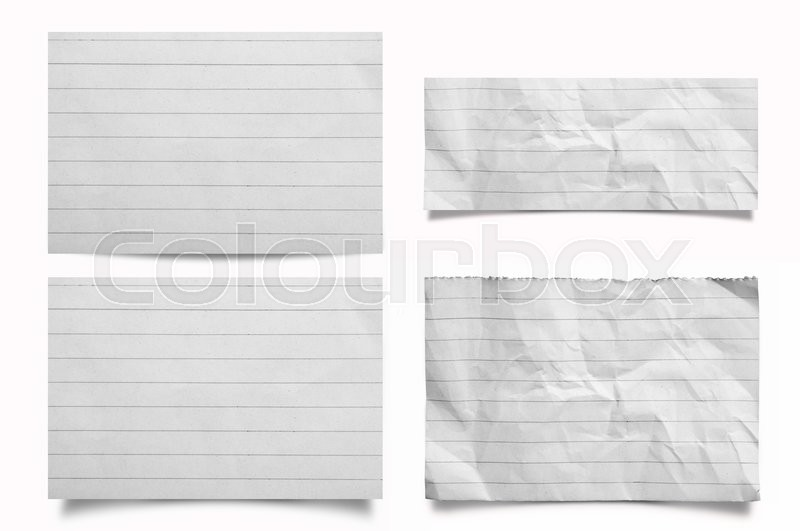 Stock image of 'Collection of Crumpled note paper on white background'