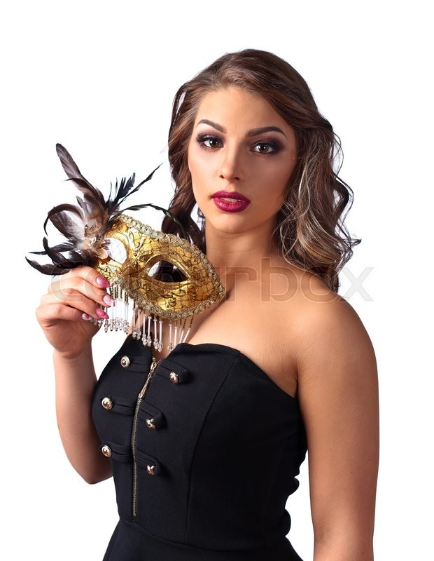 Stock image of 'Beautiful woman in black dress with carnival mask isolated on white background'