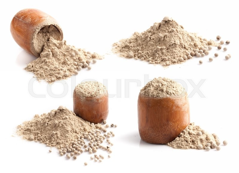 Stock image of 'White pepper grain and powder isolated on white background'
