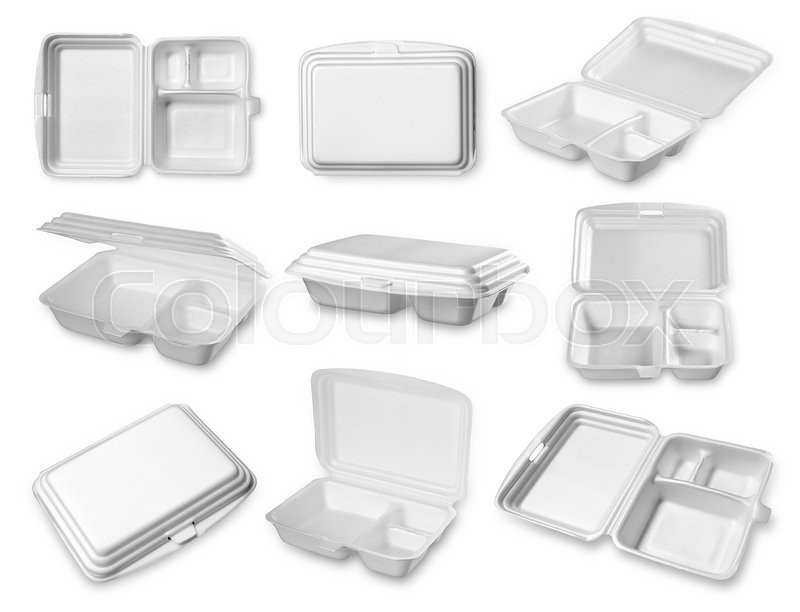 Stock image of 'Collection of styrofoam box isolated on white'