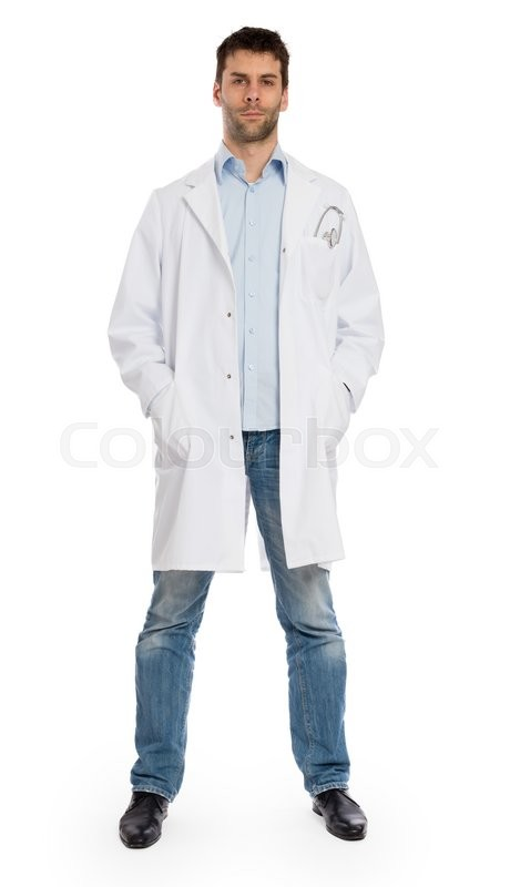Stock image of 'Male doctor, concept of healthcare and medicine - Isolated on white'