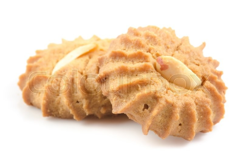 Stock image of 'Nut cookies, isolated on white background'