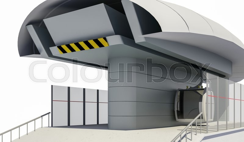 Stock image of '3D illustration of Cableway Station - Isolated on white'
