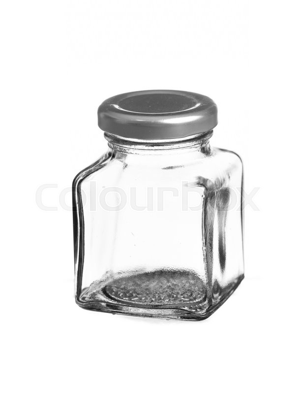 Stock image of 'Empty glass jar isolated on white background'