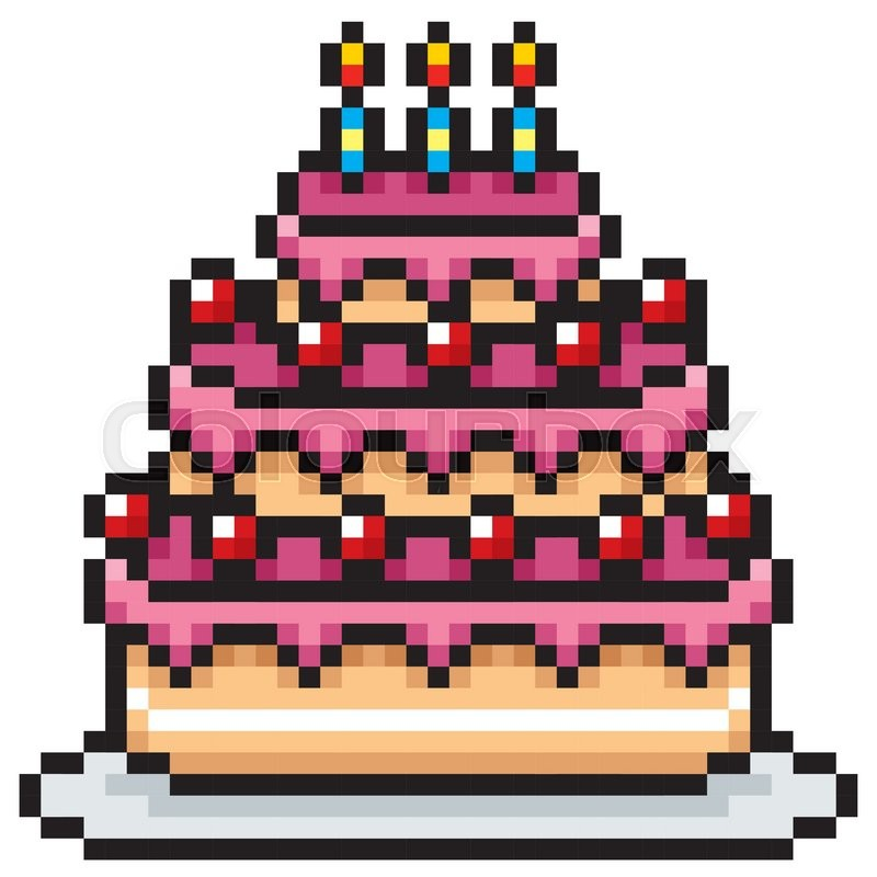 Cake The Cat Pixel Art : Vector Illustration of Birthday cake - Pixel design ...