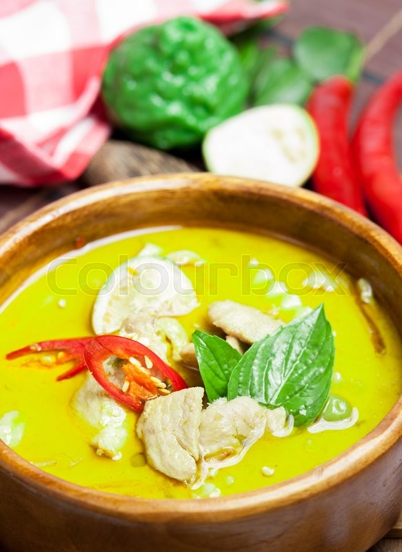 Stock image of 'Green curry thai food.'