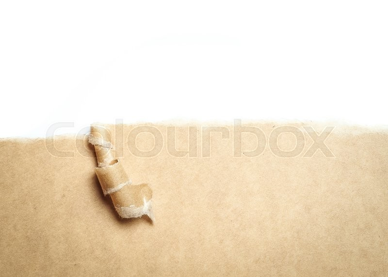 Stock image of 'Blank torn brown paper with space for text on white background,copy space'