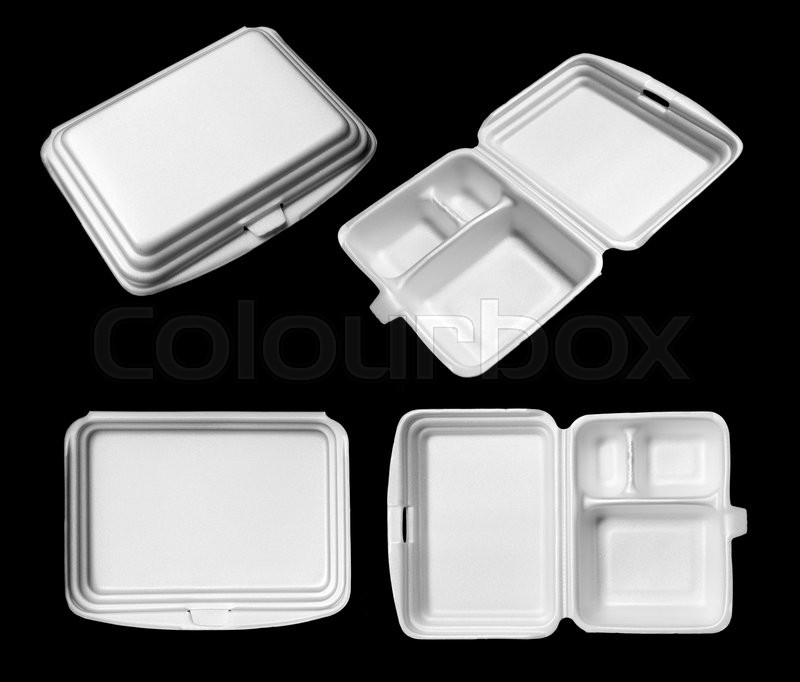 Stock image of 'Styrofoam of food container isolated on black'